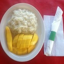Thai Sticky Rice with Mango - <em>Steamed sticky rice with coconut milk &amp; sugar served with fresh mango (Seasonal)<br></em>