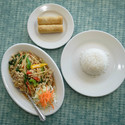 Pad Bi Gra Praw Chicken with Steamed Rice and Fried Spring Rolls